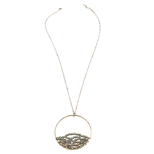 Sweet Lola Inc. - Kimberly - Gold chain necklace with round green glass beads