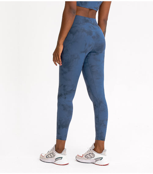"HIGH WAISTED ""TIE DYE"" LONG PANT (BLUE)"