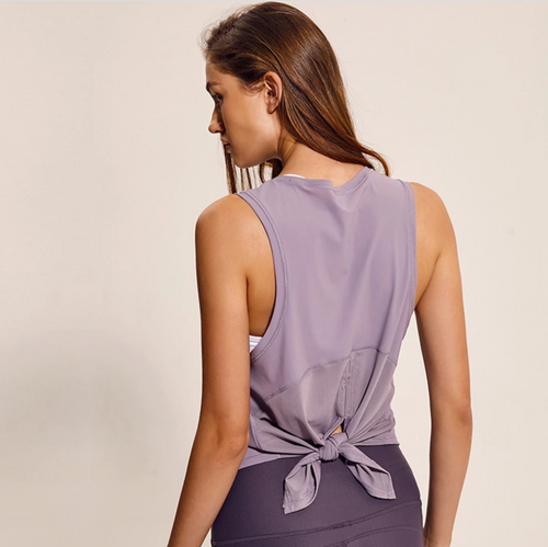 "FLOWY ""TIE BEHIND"" TOP (PALE LILAC)"
