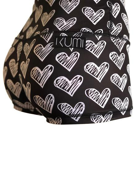 Kumi Booty Shorts Black Chalk Hearts