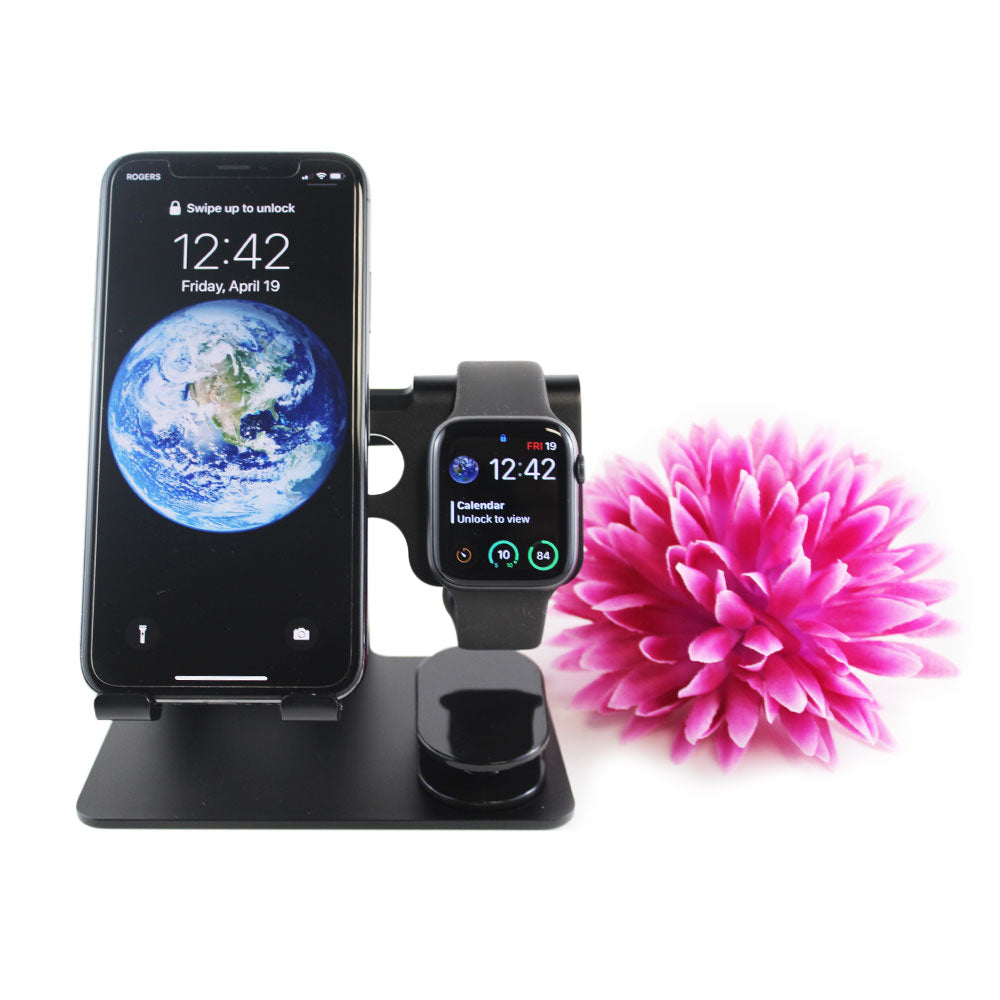 Black Aluminum Apple Smartphone & Watch Stand