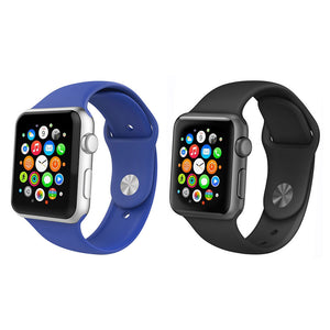 Royal Blue & Black 2 Pack Silicone Apple Watch Straps
