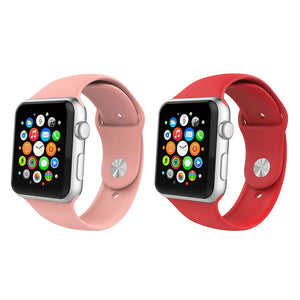 Pink & Red 2 Pack Silicone Apple Watch Straps