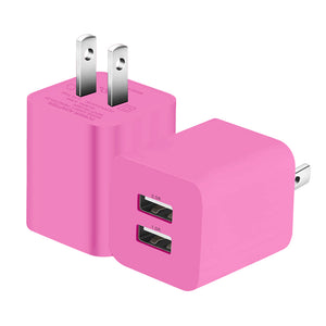 Pink 2 Pack Dual Port USB Wall Charger