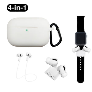White 4-in-1 Airpods Pro Case Carabiner Sleeve Anti-lost Rope Set