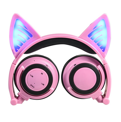 Pink Kids Foldable LED Flashing Cat Ear Headphones