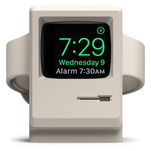 White Retro Computer Charging Stand for Apple Watch