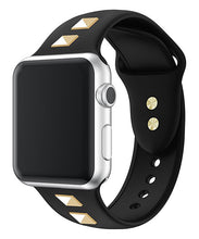 Load image into Gallery viewer, Black Studded Silicone Apple Watch Band