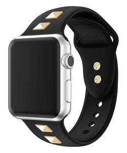 Black Studded Silicone Apple Watch Band