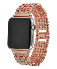 Load image into Gallery viewer, Rose Gold Honeycomb Rhinestone Apple Watch Band