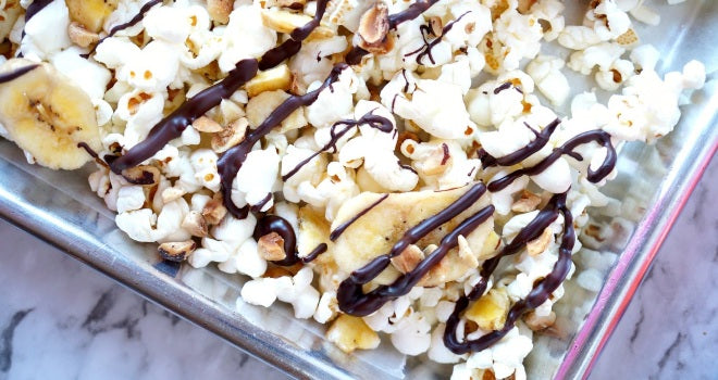 Banana, Hazelnut, and Dark Chocolate Popcorn Snack Mix