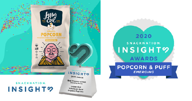 LesserEvil Wins SnackNation Insights Award for Best Emerging Popcorn and Puff Brand
