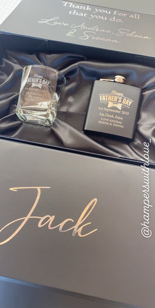 Personalised Flask & Whisky glass gift set