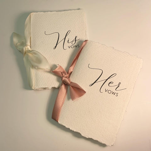 Handmade vow booklet- twin pack