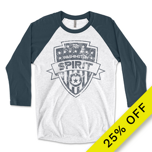 Distressed Three-Quarter Sleeve Raglan T-Shirt