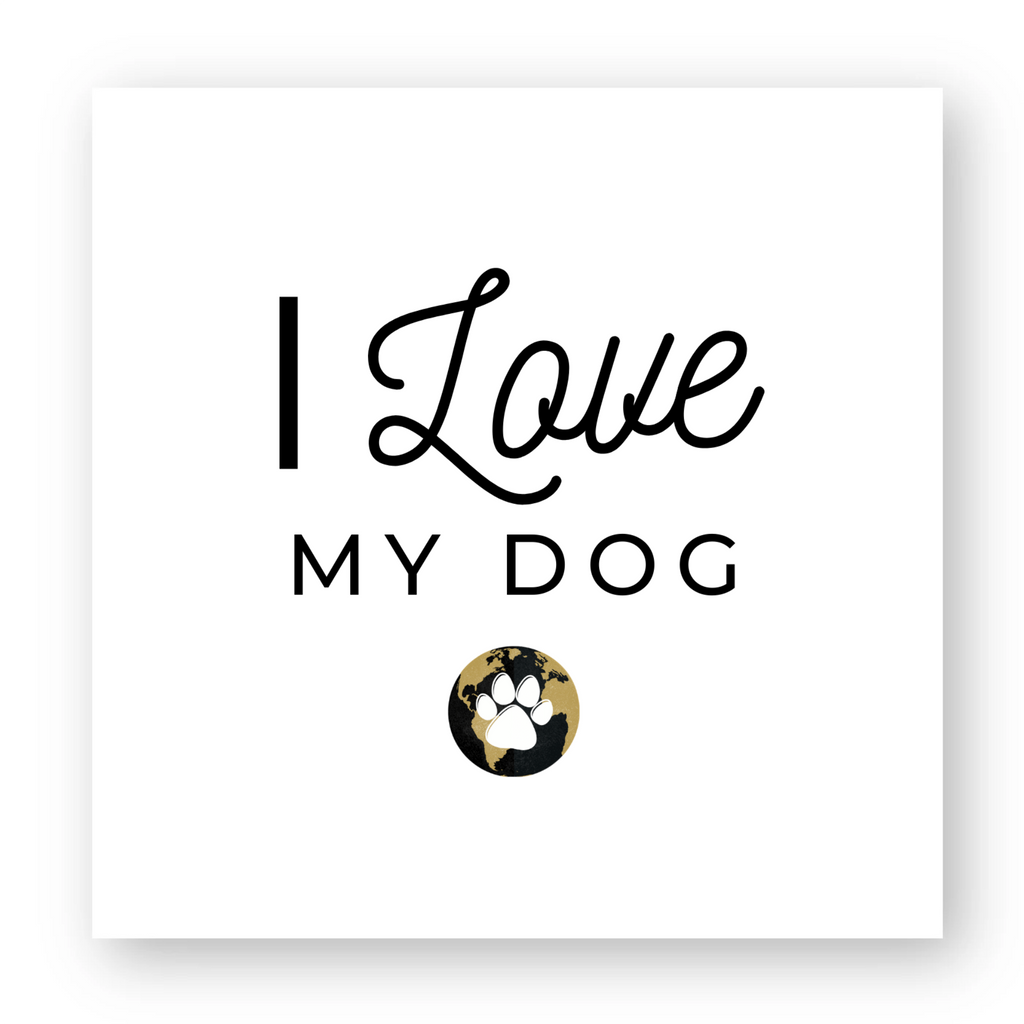 Sticker carré X1 Worldchien I love my dog