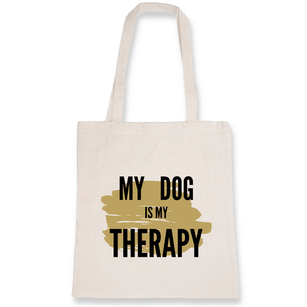 Totebag My Dog is My Therapy Coton bio