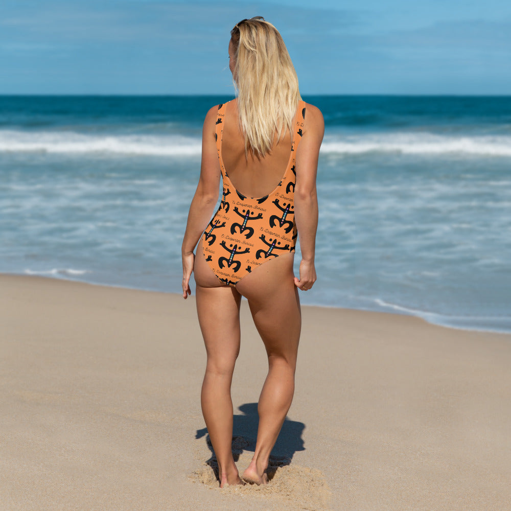 One-Piece Swimsuit Puerto Rico Despertar Taino Estampado Naranja