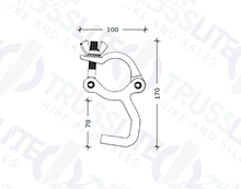 Load image into Gallery viewer, TL-8023-B Black Exhibit Clamp M8 (ANGLED), 500kg.