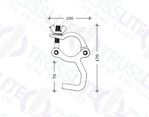 TL-8023-B Black Exhibit Clamp M8 (ANGLED), 500kg.