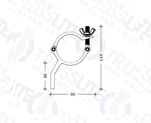 TL-8036-B Black Exhibit Clamp M8 (STRAIGHT), 100kg.