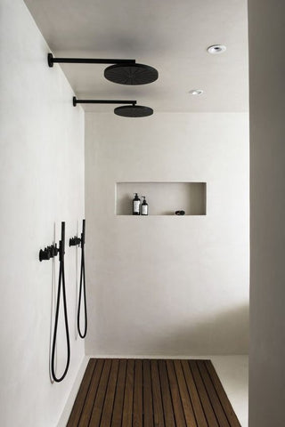 Black overhead shower with hand held shower set