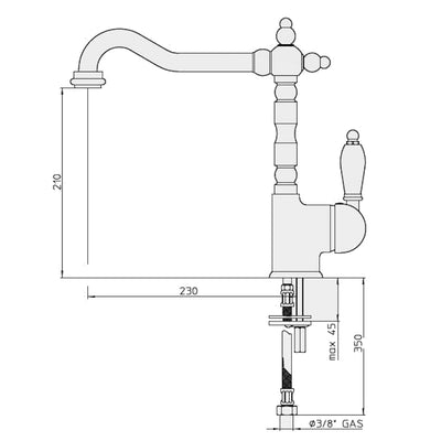 Clasicó Single Mixer Specification Drawing