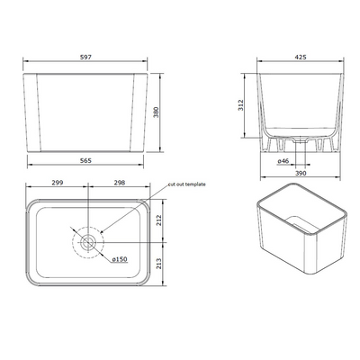 Tribo 60 X 42 Fine Fireclay Sink Specification Drawing