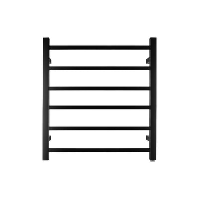 6 Bar Heated Towel Rail Black