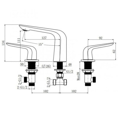 Norico ESPERIA Mixer Tap Specification Drawing
