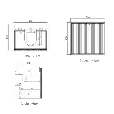 MARLO Wall Hung Vanity 600mm Specifications Drawing