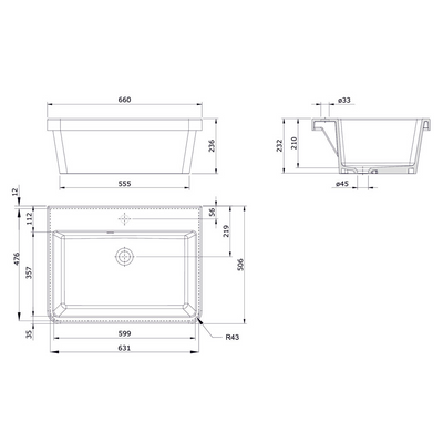 Ravine 66 x 51 Fine Fireclay Inset Sink Specification Drawing