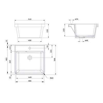 Ravine 51 x 51 Fine Fireclay Inset Sink Specification Drawing