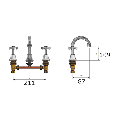 Whitehall EZY Clean Basin Set Swivel Specification Drawing
