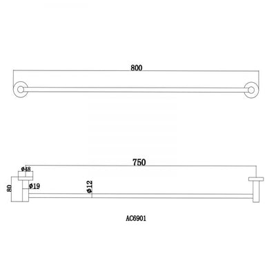 Norico Pentro Single Towel Rail 800mm Specification Drawing