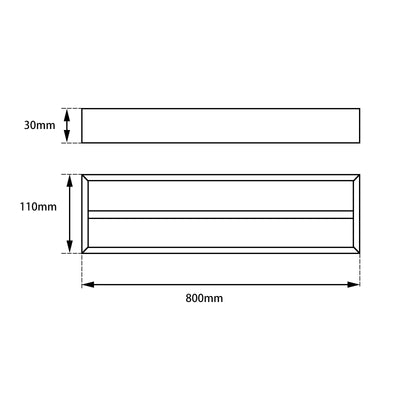 Norico Cavallo Brushed Square Double Towel Rail 800mm Specification Drawing
