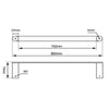 Norico Esperia Single Towel Rail 800mm Specification Drawing
