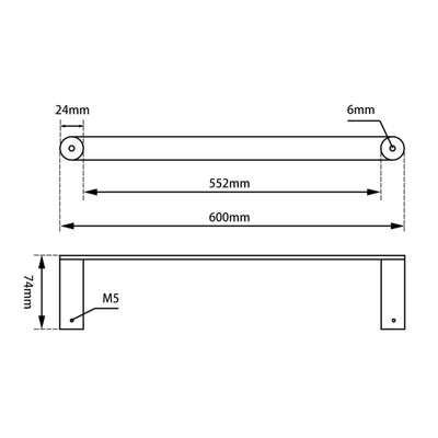 Norico Esperia Single Towel Rail 600mm Specification Drawing