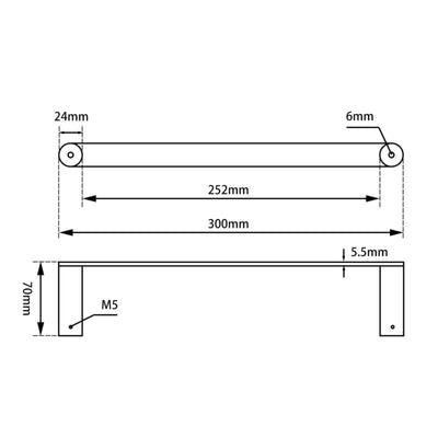 Norico Esperia Towel Ring 300mm Specification Drawing