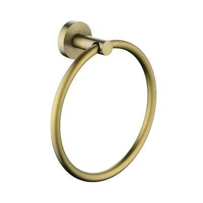 Norico Pentro Brushed Yellow Gold Round Wall Mounted Round Hand Towel Ring