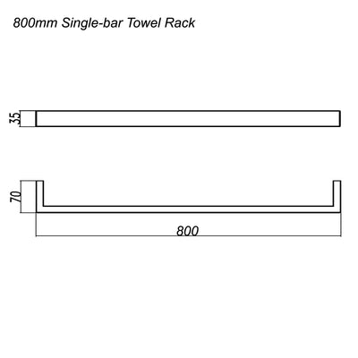 Norico Cavallo Square Single Towel Rail 800mm Specification Drawing