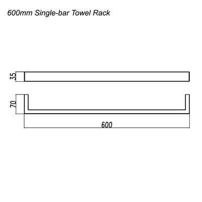 Norico Cavallo Square Single Towel Rail 600mm Specification Drawing
