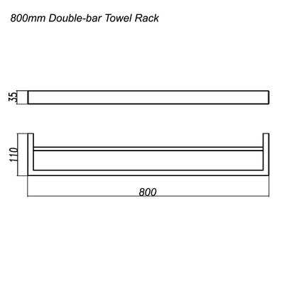 Norico Cavallo Square Double Towel Rail 800mm Specification Drawing