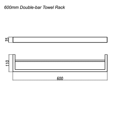 Norico Cavallo Square Double Towel Rail 600mm Specification Drawing