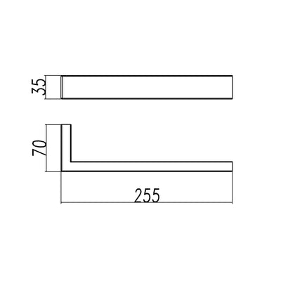 Norico Cavallo Square Towel Bar 200mm Specification Drawing