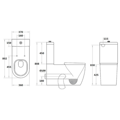 ASTA Care Rimless Toilet Suite Specification Drawing