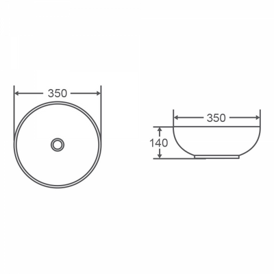 ASTI Round Counter Top Basin 350mm Specification Drawing