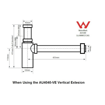 Vertical Extension Pipe for AU4040 Bottle P Trap -Specification Drawing