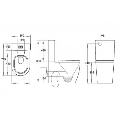 Avery Back to Wall Toilet Specification Drawing