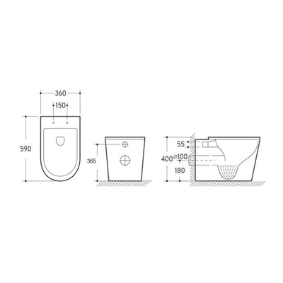 Avery Back to Wall Toilet Pan Specification Drawing